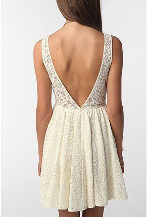 Short white dress. Big V back cleavage. Easy to copy. Simple design.