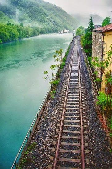 Tracks beside river