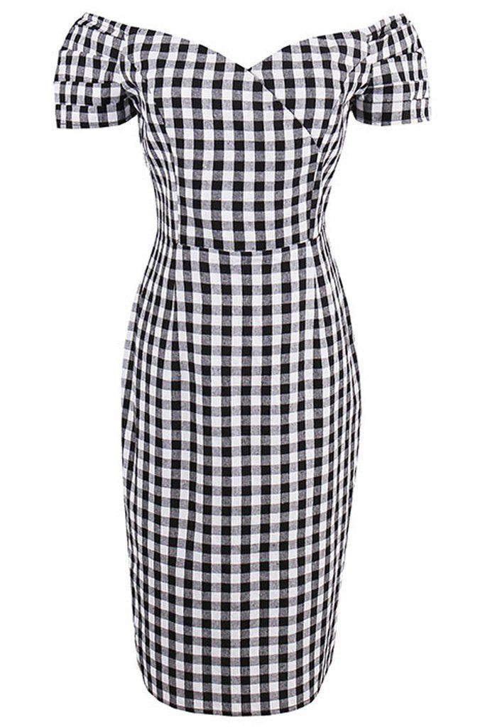 Show off your curves in our Atomic Classic Black Plaid Bodycon Dress. https://atomicjaneclothing.com/products/atomic-classic-black-plaid-bodycon-dress