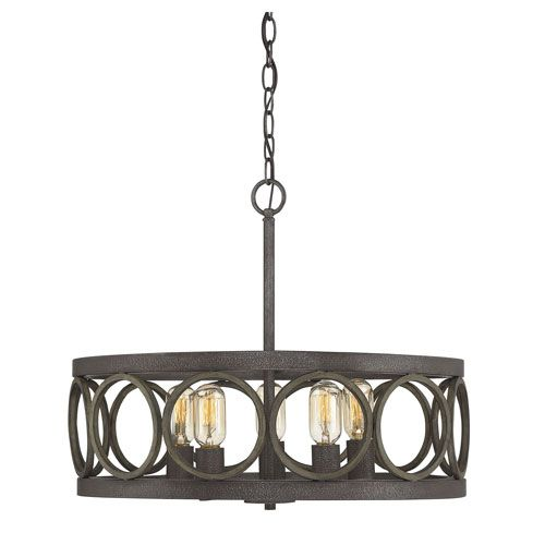 Fulton Fossil Stone and Aged Wood Five-Light Drum Pendant