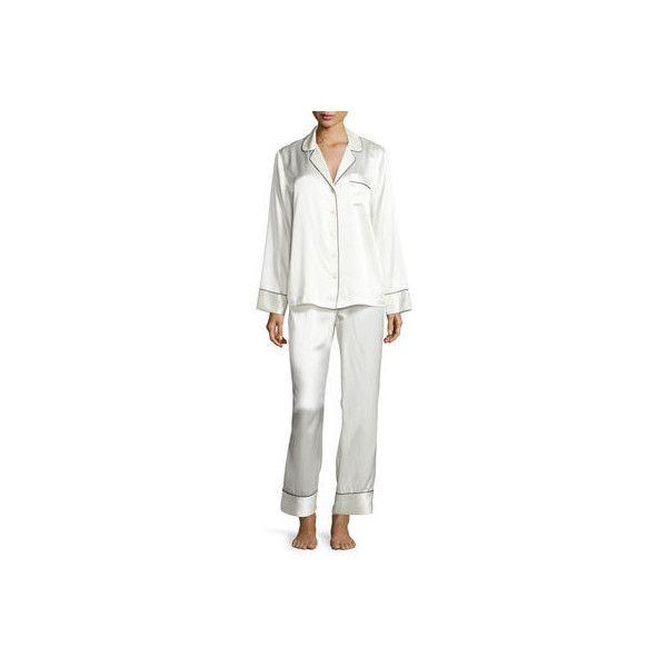 Nm Intimates Silk Satin Two-Piece Pajama Set ($190) ❤ liked on Polyvore featuring intimates, sleepwear, pajamas, ivory, long sleeve sleepwear, long sleeve pajamas, long sleeve pajama set, button front pajamas and long sleeve pyjamas