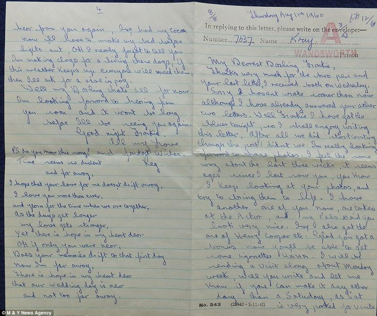 A letter from Reggie Kray to first wife Frances while he was in Wandsworth Prison in South-West London