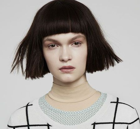 One Length Haircut With Fringe Google Search