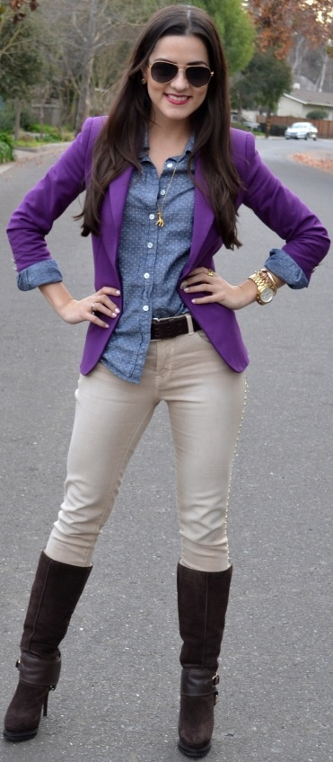 Purple Blazer, chambray, neutral pants, and black boots
