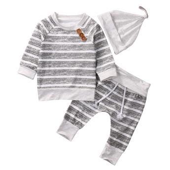 Gray and White Stripes 3 Piece Set - Baby Boy