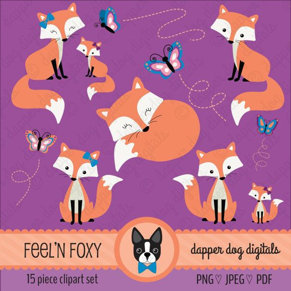 Fox Clipart Set Commercial Use Vector Images by DapperDogDigitals