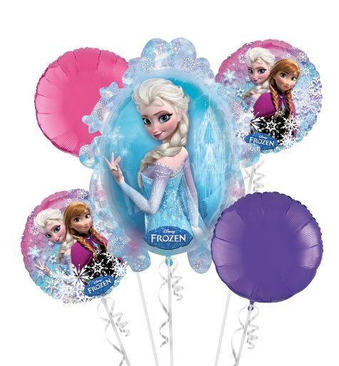 Frozen balloon bouquet 5pc party city bday ideas for Frozen balloon ideas