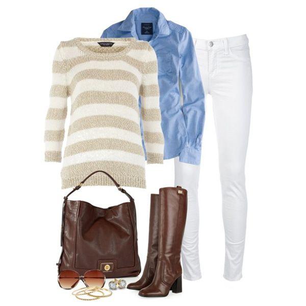 С чем носить коричневые сапоги: белые джинсы и голубая рубашка