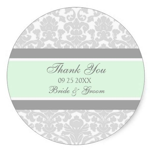Gray Mint Damask Thank You Wedding Favor Tags Sticker 5 50 Per Sheet Of 6