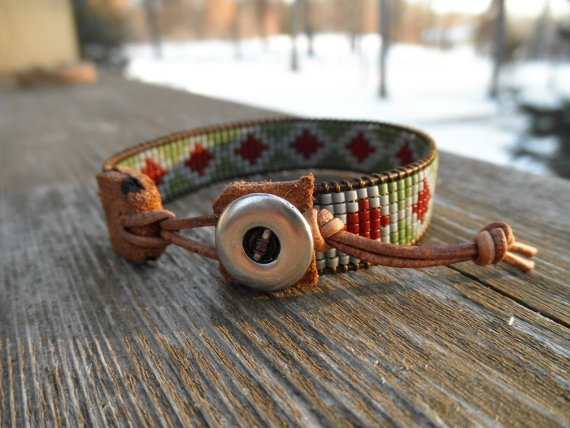 Loomed beaded bracelet  Geo by AdriaDiane on Etsy, $35.00