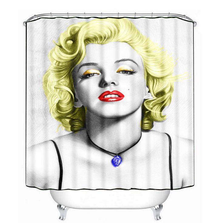 Encontrar Más Cortinas de Ducha Información acerca de 2016 trending productos de diseño Marilyn Monroe cortina de ducha de poliéster, alta calidad ducha cortina de la ventana, China cortinas a prueba de fuego Proveedores, barato anillos de cortina de ducha de plástico de XTY 3D Hometextile store en Aliexpress.com