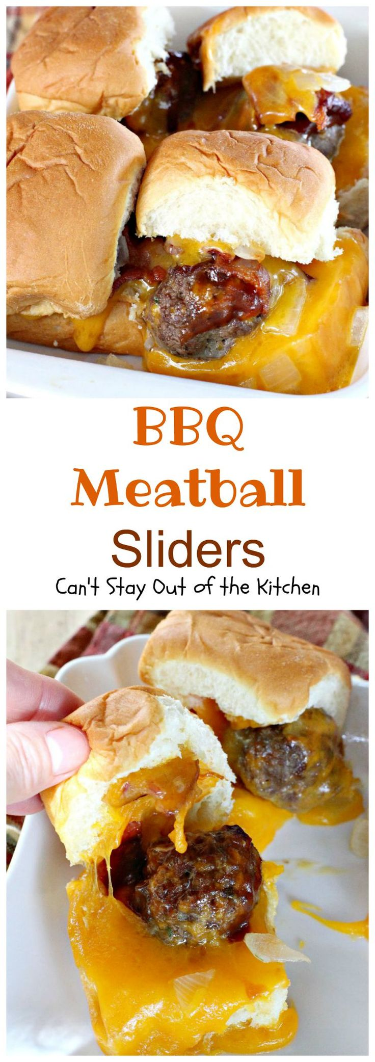 These fabulous sliders are extra gooey with cheese, filled with bbq meatballs, bacon and onions and served on King's Hawaiian Sweet Rolls for spectacular taste.