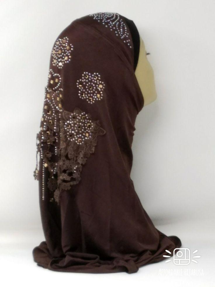 Amour Al Amira Hijab $24.99 Amour Al Amira Hijab with beautiful Lace Applique And Rhinestone Dark Brown 1pchttps://store13211292.ecwid.com/#!/Amour-Al-Amira-Hijab/p/101697875
