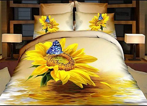 Yellow sunflower 3d Bedding Sets Queen size Duvet Cover sets Christmas Gift (Comforter Not Included) (queen)