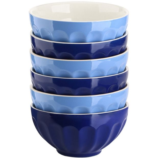 28-Oz Blue Large Stone Pasta Cereal Soup Bowl Set of 6 Stoneware Dinnerware NEW #homedecor #style #kitchendesign #kitchendecor #diningroom #diningroomideas #bowls