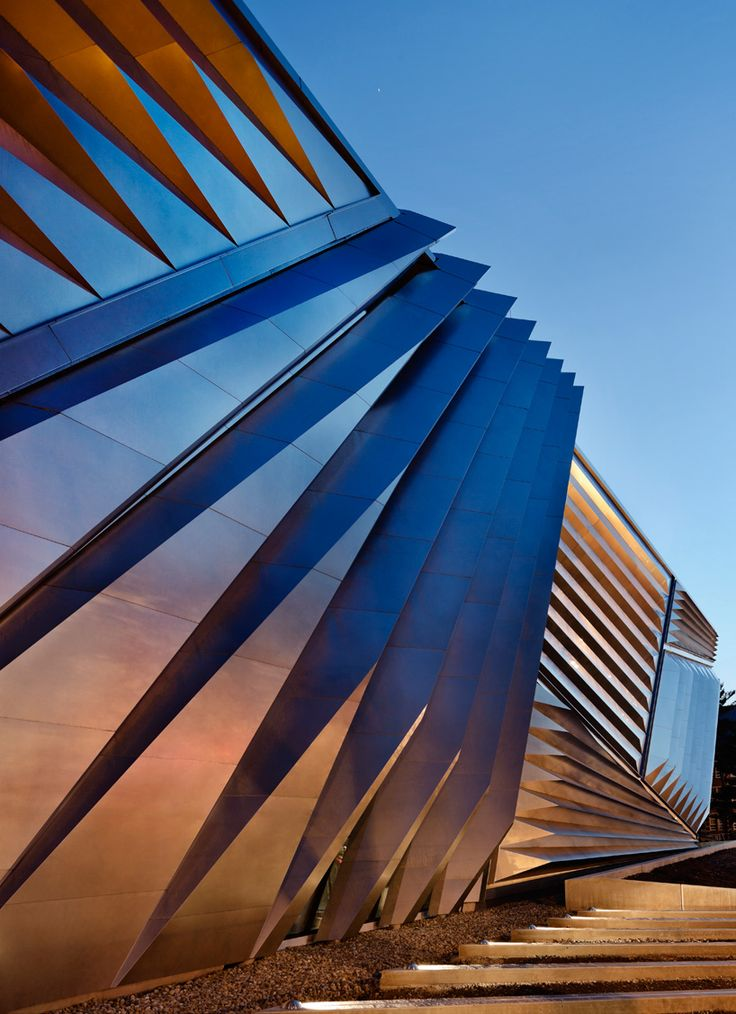 zaha hadid's broad art museum dons a pleated metal facade