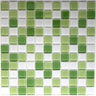 mosaique carrelage verre salle de bain douche vert mix - Salle De Bain Mosaique Verte