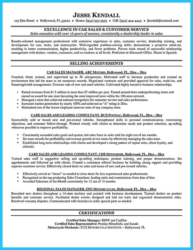 cool Captivating Car Salesman Resume Ideas for Flawless Resume,