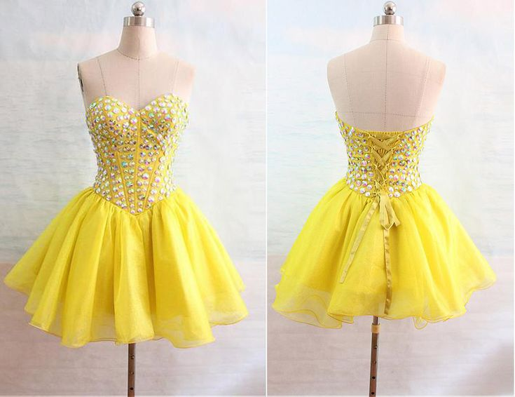 Homecoming Dress,Pink Homecoming Dresses,Short Prom Gown,Yellow Homecoming Gowns.Sweetheart  dress