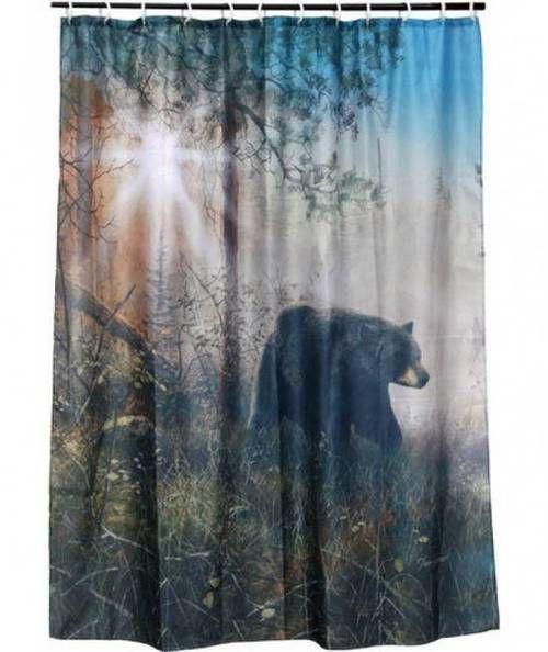 Bear Shower Curtain Shadow In The Mist Shower Curtain