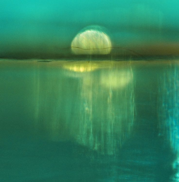 Moonrise. Abstract Landscape Fine Art Photograph by Frances Seward. Dreamy Moonscape on turquoise/green lake. truly fantastical and beautiful.