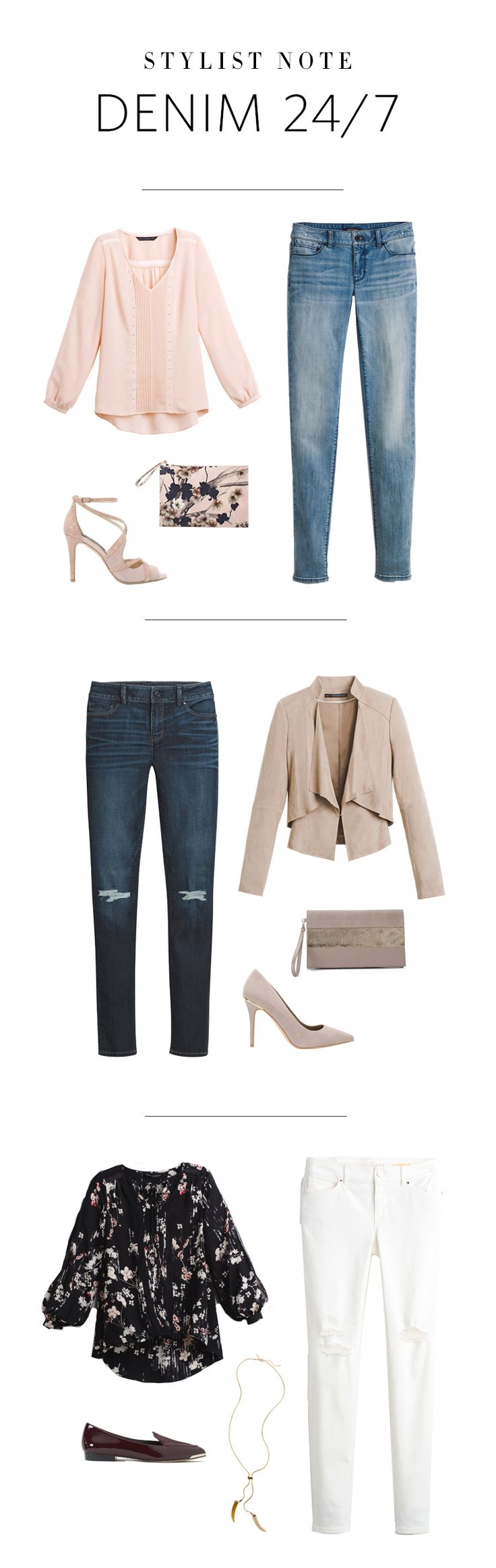 WHBM jeans have the style & fit you crave. Make them work for any day of the week. Date Night Pretty: Compliment the light wash denim with an overtly feminine blouse, strappy heels & floral-print clutch. Work Day Chic: A relaxed suede jacket, our sophisticated Olivia pumps & a neutral hued clutch will take your jeans for Casual Friday to the next level. Brunch Plans: A billowy blouse paired with a crisp pair of our white jeans &  flats make this the perfect outfit pre, during and post…