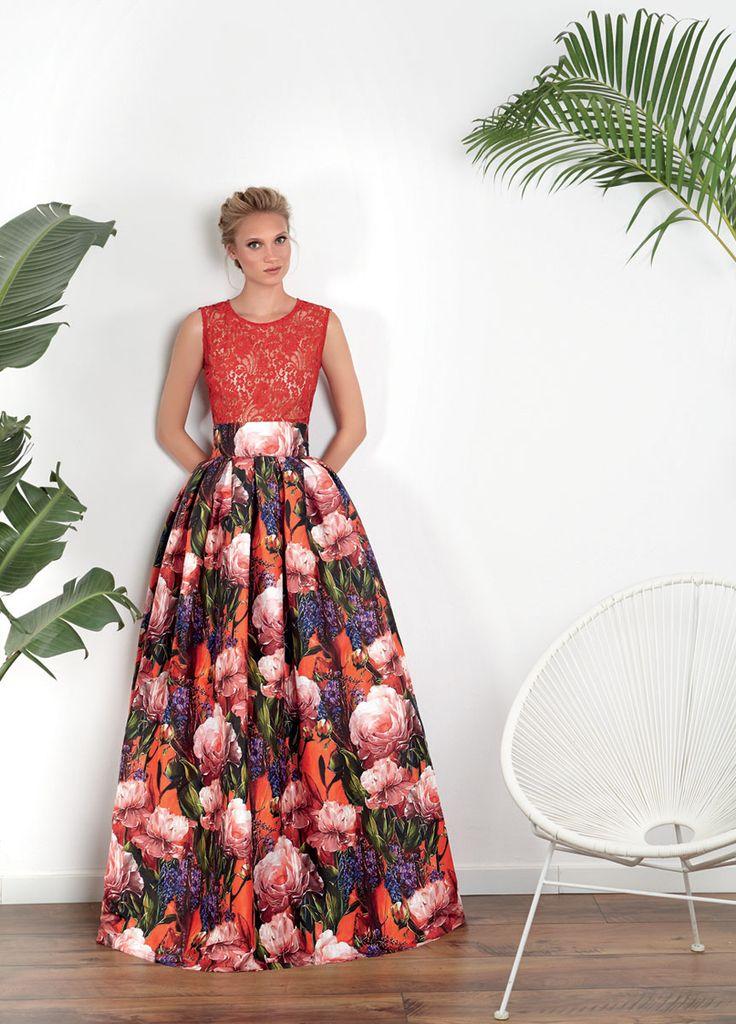 Vestidos de Fiesta Matilde Cano ¡nueva colección 2017! - Vestidos de fiesta, vestidos para boda, Camisa chantilly falda estampada mikado