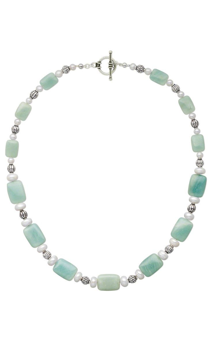 DIY Jewelry Design - Single-Strand Necklace with Amazonite Gemstone Beads, Sterling Silver Beads and Cultured Freshwater Pearls - Fire Mountain Gems and Beads