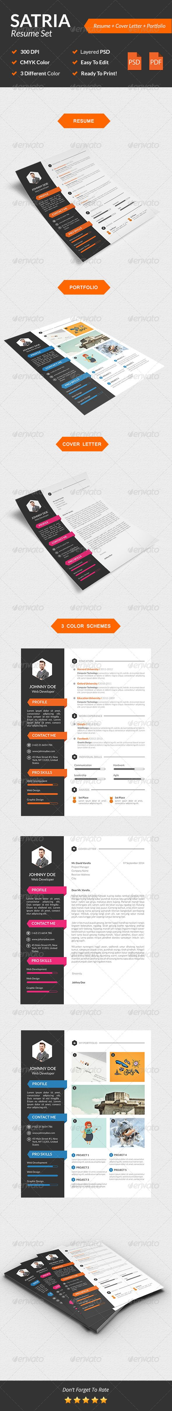 Satria Modern Resume Set — Photoshop PSD #resume #minimalist design • Available here → https://graphicriver.net/item/satria-modern-resume-set/8535170?ref=pxcr