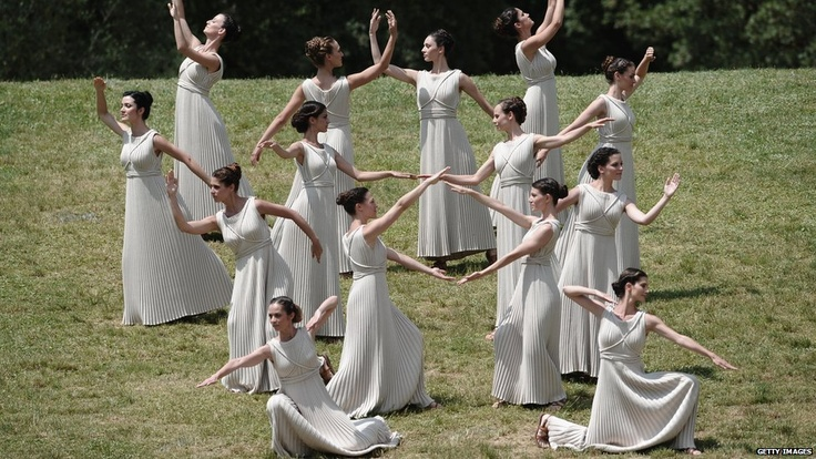 Dancers on the banks of the stadium at the Olympic torch lighting ceremony.  Looks a lot like our family reunions.