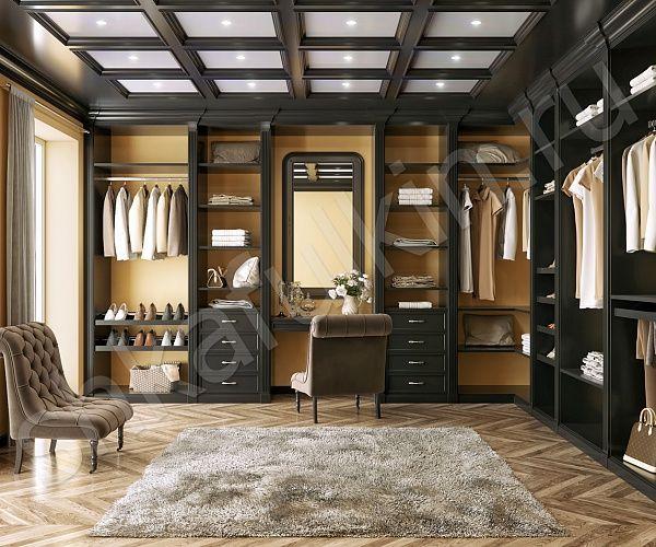 """Классический стиль – это, прежде всего, показатель статуса хозяев квартиры или дома. Если квартира или загородный дом оформлены в этом стиле, то совершенно логично также обустроить и гардеробную комнату. А если гардеробная комната обладает щедрыми квадратными метрами, то стоит использовать эту возможность и сделать из нее многофункциональное помещение, соединив систему хранения с зоной отдыха. Просторная гардеробная """"Онегин"""" оформлена в стиле английской классики и оборудована туалетным…"""