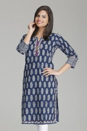Stylish indigo straight cotton kurta by farida...