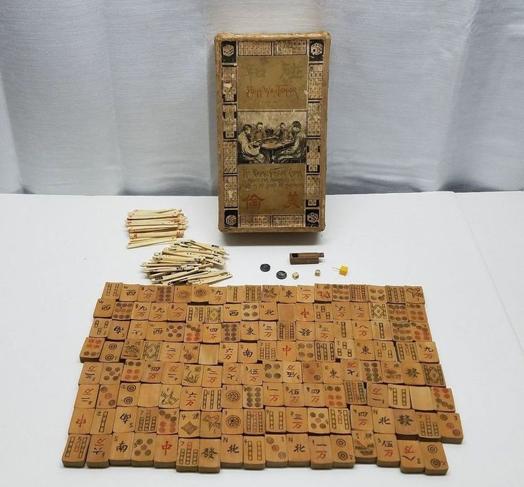 Vintage Antique Bone Sticks Bamboo Wood Mah Jong Tiles Game Hand Carved Set Box