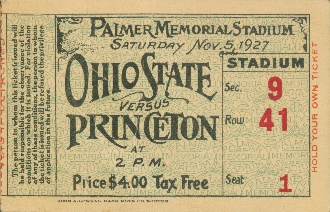 Ohio State football ticket. http://www.shop.47straightposters.com/1927-Ohio-State-vs-Princeton-27oHpR.htm