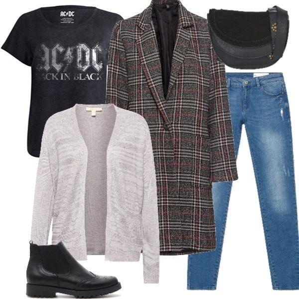 sports shoes f7d27 328ff Jeans e maglietta stampa rock, cardigan chiaro, coat check ...