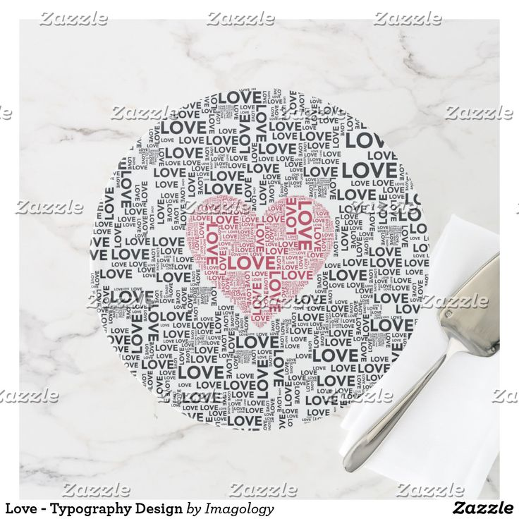 Love - Typography Design Cake Stand