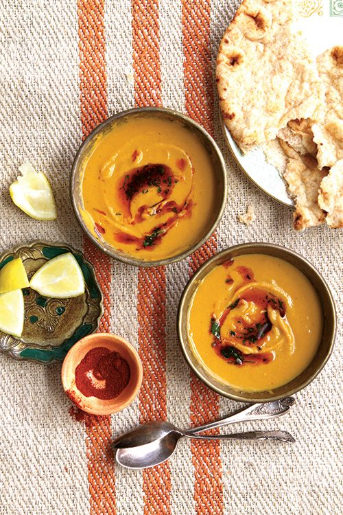 Protein-rich red lentils and hearty butternut squash are transformed into a smooth fragrant soup; served with flatbread, it's perfect as a simple main course.
