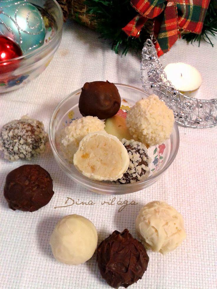 Kekszes trüffelgolyók aszalt barackkal, tojáslikőrrel, fehércsokoládéval