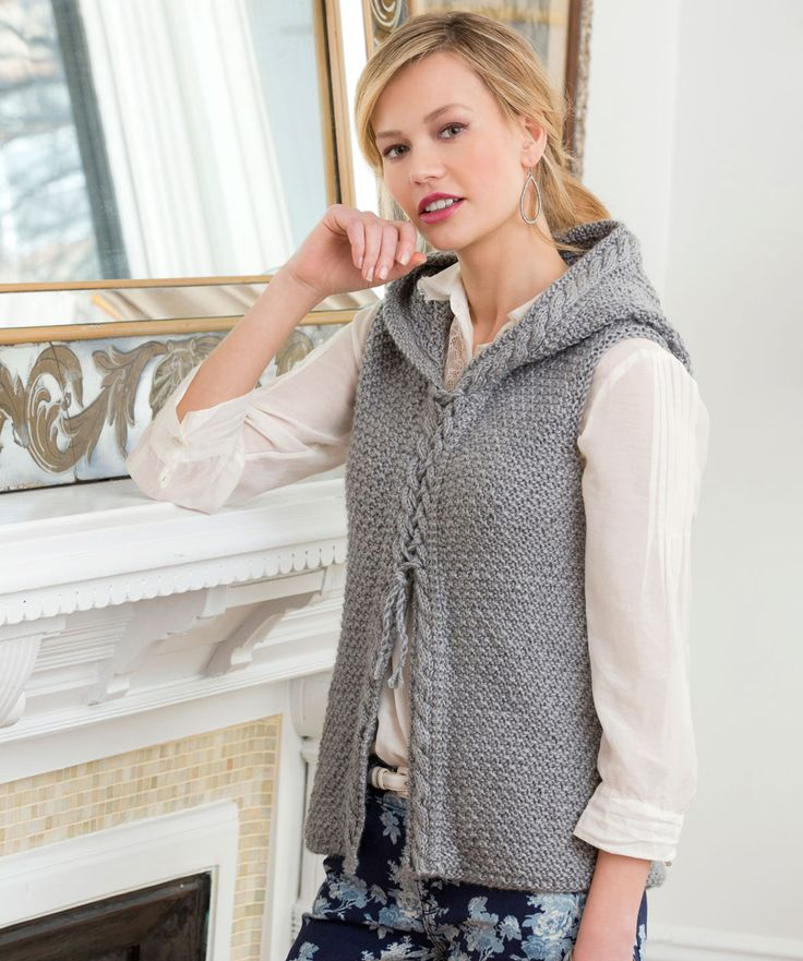 Hooded Cable Vest - free pattern - knit in the round-shown in Red Heart Soft, or other drapey worsted weight