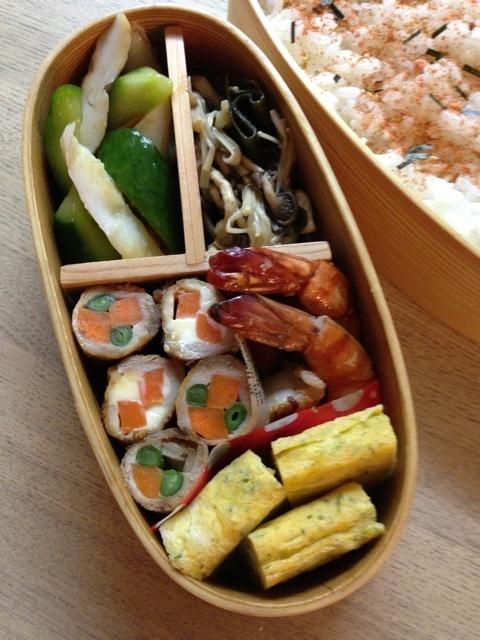 Japanese Bento Box (Pork Rolls, Fried Shrimp, Tamagoyaki Egg Omelet)