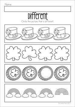 St. Patrick's Day Preschool No Prep Worksheets & Activities. Circle the picture that is different.