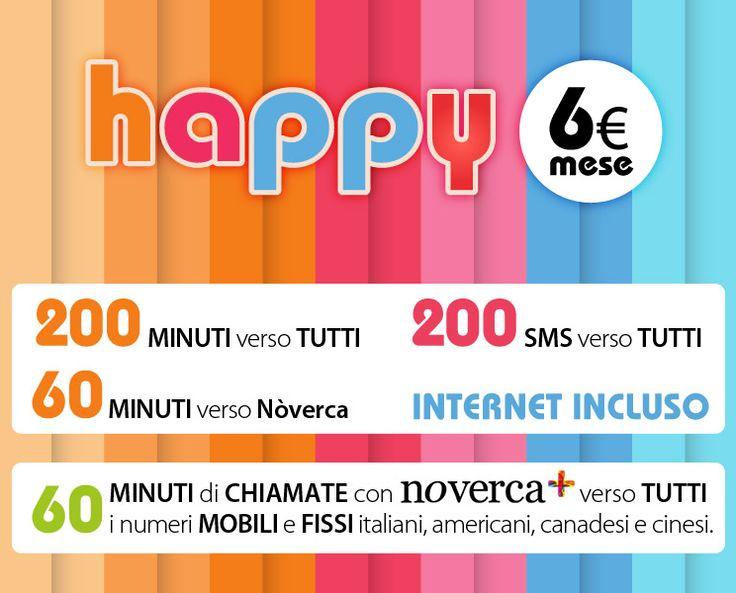 L'opzione tariffaria Happy ti offre ogni mese 200 minuti di traffico voce nazionale verso tutti i numeri fissi e mobili, 60 minuti verso tutti i numeri Nòverca, 200 SMS verso tutti i numeri mobili nazionali, 1GB di navigazione internet nazionale e 60 minuti verso tutti i mobili e fissi italiani, americani e cinesi da utilizzare con l'applicazione Nòverca+. http://www.noverca.it/piani-tariffari-e-promozioni-happy-tutto-incluso-minuti-sms-internet