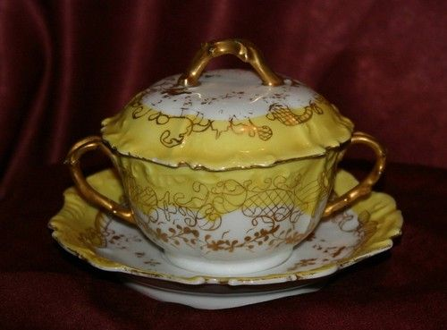 Antique Limoges Elite Yellow Gold Hand Painted Bouillon
