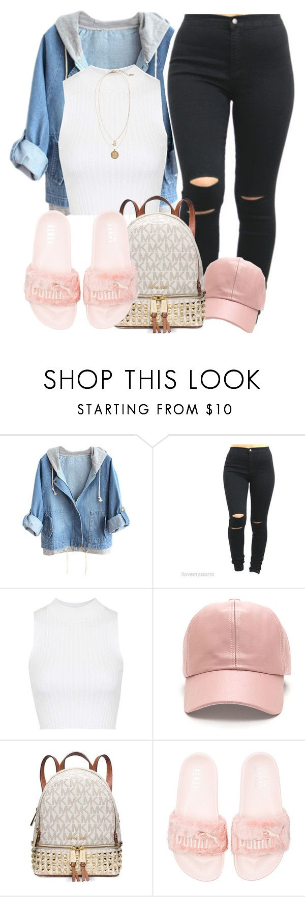 """""""Untitled #188"""" by cocochanelox ❤ liked on Polyvore featuring Topshop, Michael Kors, Puma and H&M"""