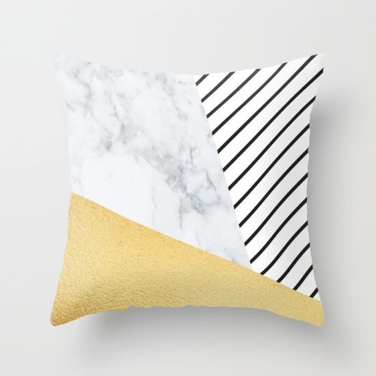 Marble Gold Stripe Throw Pillow