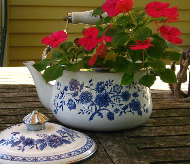 Repurposed Teapot Planter  I Love The Look Of Teapot Planters