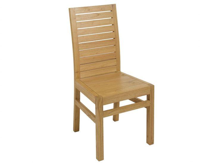 Comprar silla de comedor realizada con listones de madera de mindi y acabada en un cálido color roble, sin brazos, de líneas rectas y sencillas.