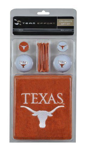 """NCAA Texas Golf Gift Set by Team Effort. $29.99. Two ball markers. One premium ball mark repair tool. 16""""x 26"""" tri-fold towel. Two quality surlyn covered golf balls. 15 natural wood-finished tees. Gift set includes a 16 x 26 tri-fold towel embroidered with collegiate trademark, two quality surlyn covered golf balls printed with collegiate trademark, 15 natural wood-finished tees printed with collegiate word mark, two ball markers and one premium ball mark repair tool pr..."""