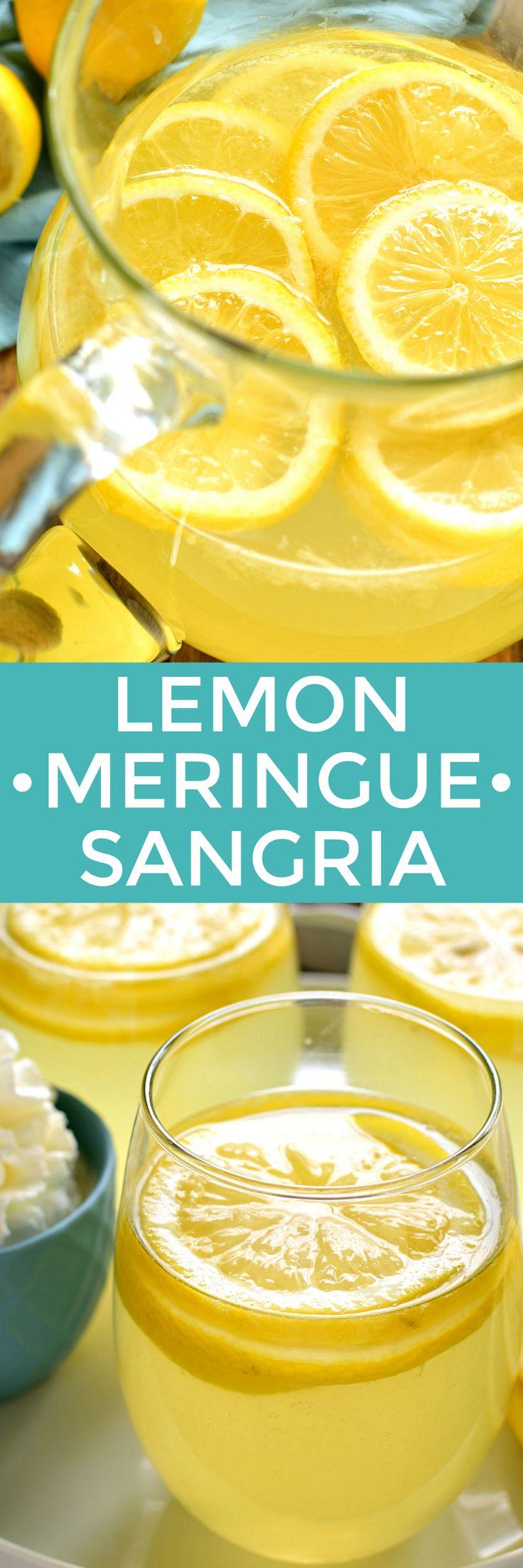 This Lemon Meringue Sangria tastes just like Lemon Meringue Pie...in a glass! The perfect way to welcome in spring!
