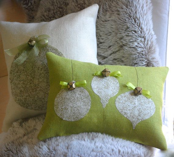 BurlapOrnament Christmas pillow featuring 3 by TheBurlapCottage